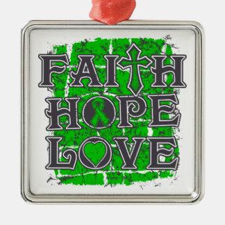 Amor de la esperanza de la fe del donante de adorno navideño cuadrado de metal