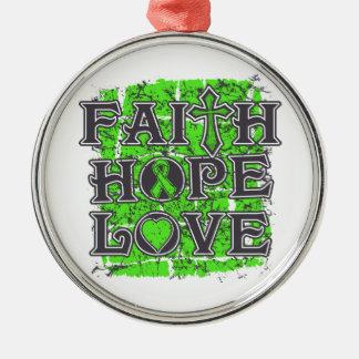 Amor de la esperanza de la fe del linfoma adorno navideño redondo de metal