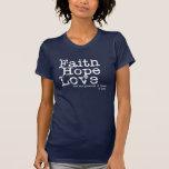 Amor de la esperanza de la fe del vintage camisetas