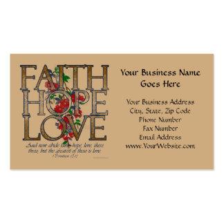 Amor de la esperanza de la fe, diseño floral con tarjetas de visita