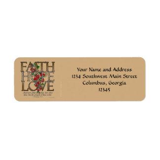Amor de la esperanza de la fe, diseño floral con v etiqueta de remite