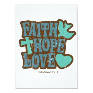"""amor de la esperanza de la fe invitación 5.5"""" x 7.5"""""""