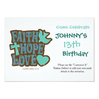 """amor de la esperanza de la fe invitación 5"""" x 7"""""""
