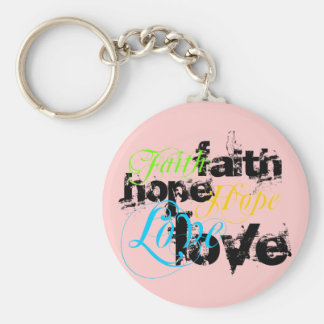 Amor de la esperanza de la fe llavero redondo tipo pin