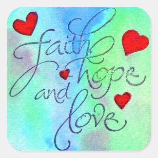 amor de la esperanza de la fe pegatina cuadrada
