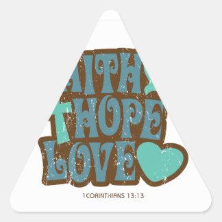 amor de la esperanza de la fe pegatina triangular