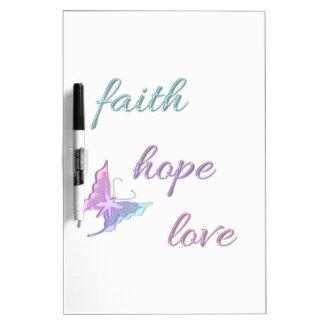 Amor de la esperanza de la fe pizarras blancas de calidad