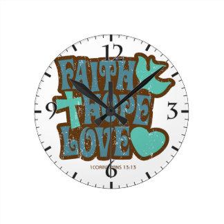 amor de la esperanza de la fe reloj redondo mediano