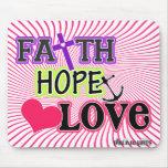 Amor de la esperanza de la fe (remolinos) alfombrillas de ratones