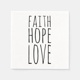 Amor de la esperanza de la fe servilletas de papel