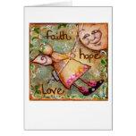 Amor de la esperanza de la fe tarjeta
