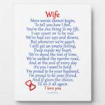 Amor de la esposa placa de plastico
