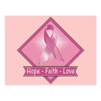 Amor de la fe de la esperanza del cáncer de pecho tarjeta postal