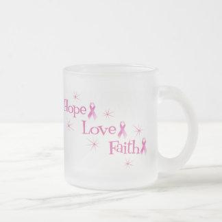Amor de la fe de la esperanza taza de cristal