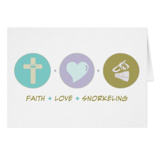 Amor de la fe que bucea tarjeta de felicitación