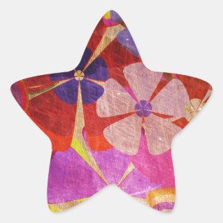 Amor de la flor pegatina en forma de estrella