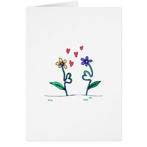 Amor de la flor tarjeta de felicitación