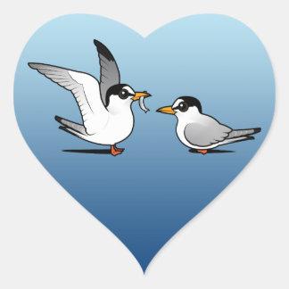 Amor de la golondrina de mar pegatinas de corazon