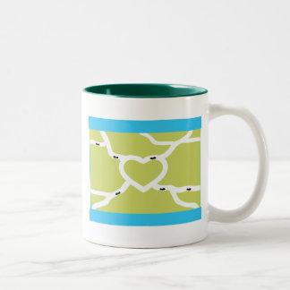 Amor de la granja de la hormiga taza de café de dos colores