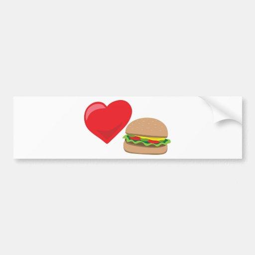 ¡Amor de la hamburguesa!  Personalizable: Etiqueta De Parachoque