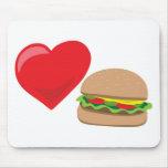 ¡Amor de la hamburguesa!  Personalizable: Tapete De Ratón