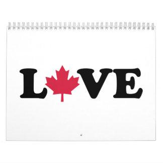Amor de la hoja de arce de Canadá Calendario De Pared