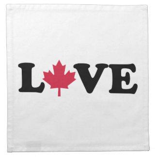 Amor de la hoja de arce de Canadá Servilletas Imprimidas