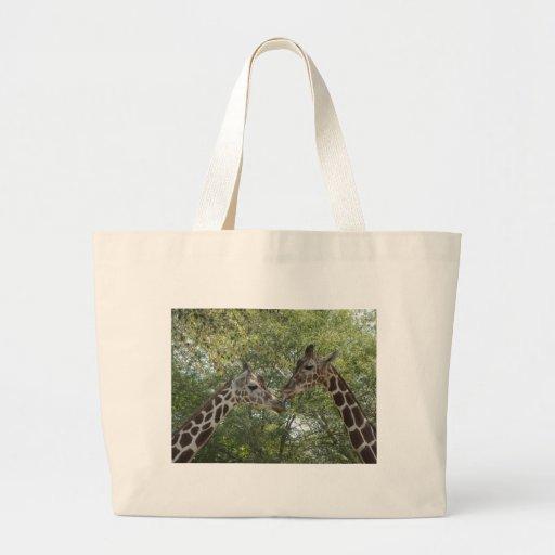 Amor de la jirafa bolsa tela grande