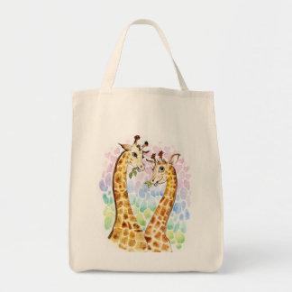 Amor de la jirafa bolsa tela para la compra