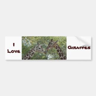 Amor de la jirafa pegatina para auto