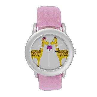 Amor de la jirafa relojes de pulsera