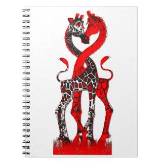 Amor de la jirafa - rojo apasionado spiral notebooks