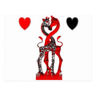 Amor de la jirafa - rojo apasionado tarjeta postal
