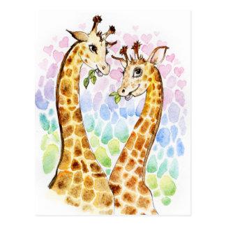 Amor de la jirafa tarjeta postal