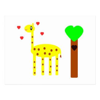 Amor de la jirafa postal