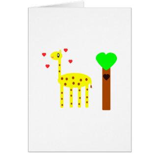 Amor de la jirafa tarjetón