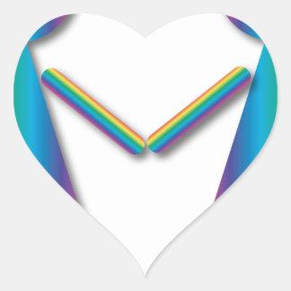 Amor de la lesbiana del arco iris calcomanía de corazón