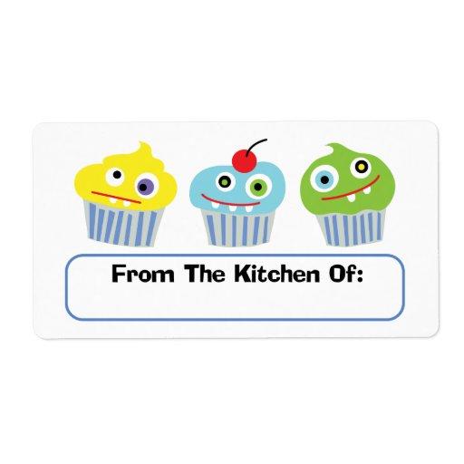 Amor de la magdalena de la cocina de etiquetas etiquetas de envío