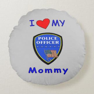 Amor de la mamá de la policía cojín redondo
