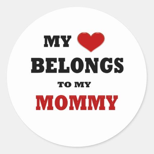 Amor de la mamá etiqueta redonda