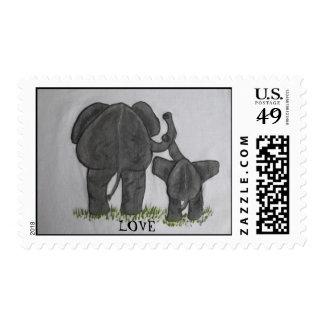 AMOR de la mamá y del bebé del elefante Estampillas