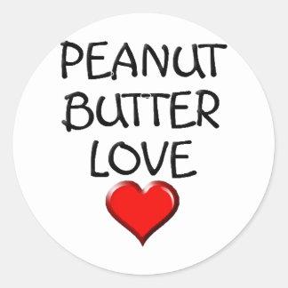 Amor de la mantequilla de cacahuete pegatinas redondas