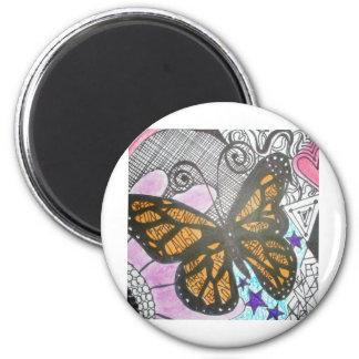 Amor de la mariposa imán de frigorifico