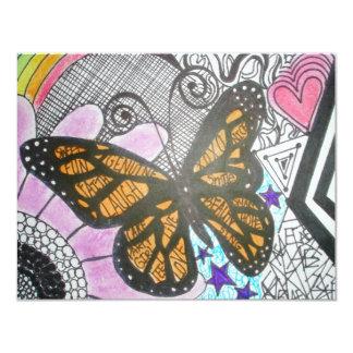 Amor de la mariposa invitación 10,8 x 13,9 cm