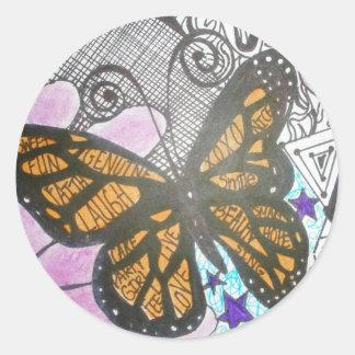 Amor de la mariposa pegatinas redondas