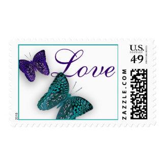 Amor de la mariposa timbre postal