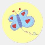 Amor de la mariposa usted pegatina redonda