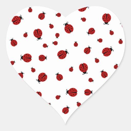 amor de la mariquita pegatina de corazón