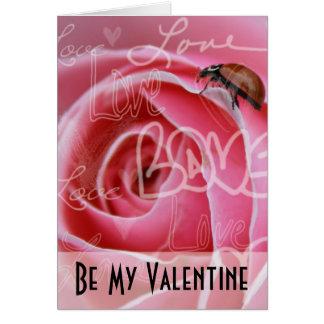 Amor de la mariquita tarjeta