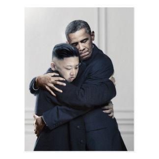 Amor de la O.N.U Corea del Norte de Obama Kim Jong Tarjeta Postal
